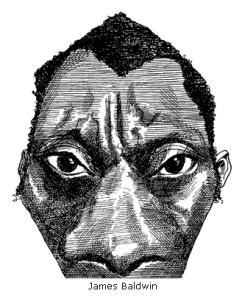 James Baldwin caricature by David Levine